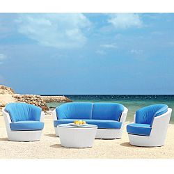 Rausch Furniture Rausch Eden Roc White Wicker Sofa and Lounge Chairs