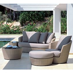Rausch Eden Roc Brown Wicker Sofa and Lounge Chairs