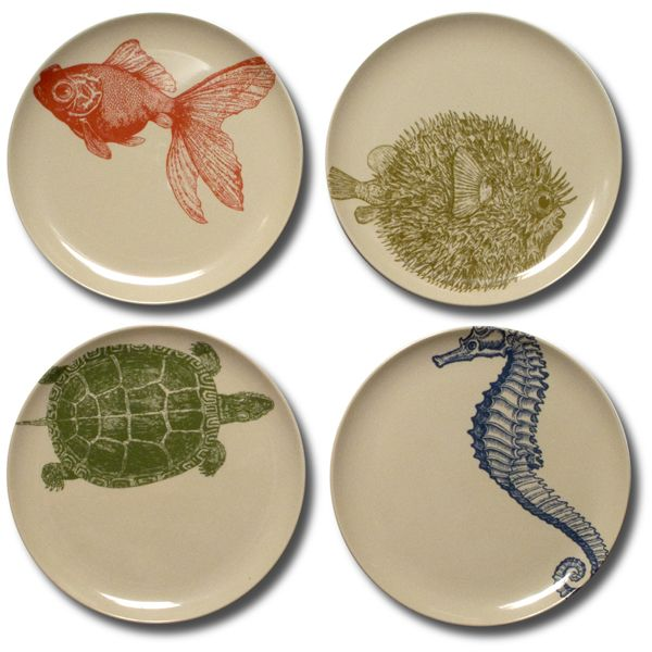 Sea Life Desert Plates  sc 1 st  Home Infatuation & Sea Life Outdoor Dinnerware Salad Plates at HomeInfatuation.com.