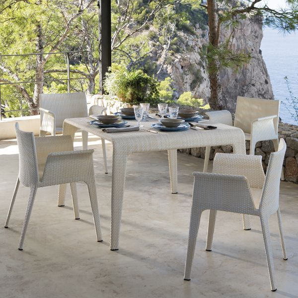 Contemporary Outdoor Dining Sets: Point U, Dining Table, Chairs, Wicker, Outdoor