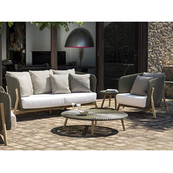 Round Wicker And Teak Sofa And Chair Collection
