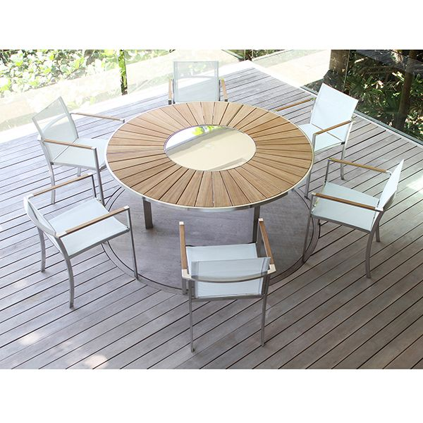 Teak Dining Table With Lazy Susan Center