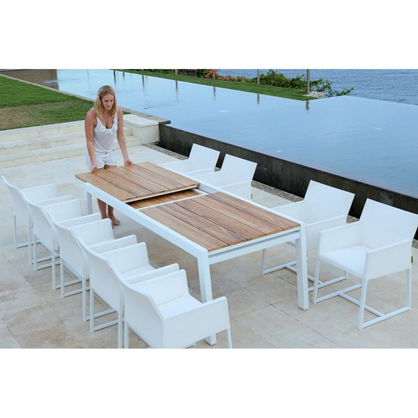 Mamagreen Baia Outdoor Extension Patio Teak Dining Table Homeinfatuation Com