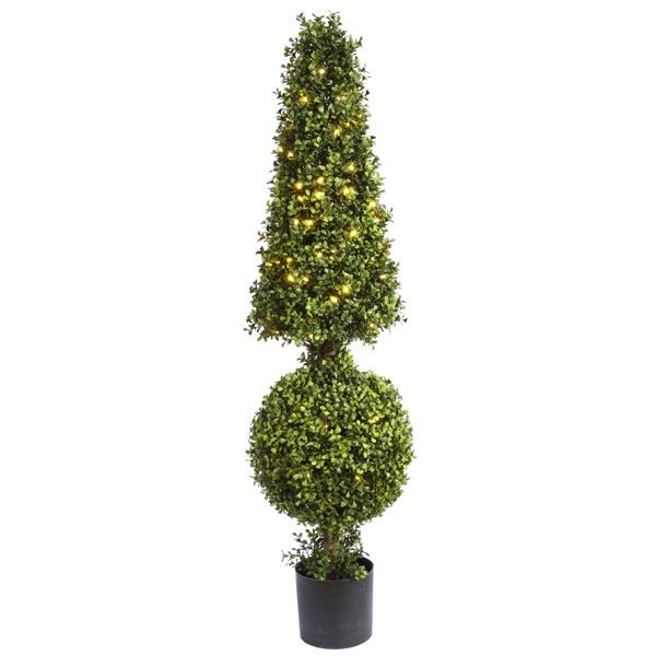 Artificial Outdoor Outside Boxwood Ball Lights Led Cone HomeInfatuati