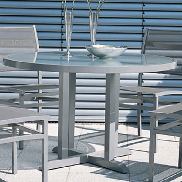 Modern Aluminum Patio Furniture rausch, outdoor, round, aluminum, dining, table - homeinfatuation.